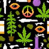 Piksel sztuki gry stylu marihuany przedmiotów medycznej świrzepy wektoru wzoru bezszwowy czerń Obrazy Royalty Free