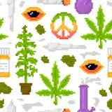 Piksel sztuki gry stylu marihuany przedmiotów medycznej świrzepy wektoru wzoru bezszwowy biel Zdjęcia Stock