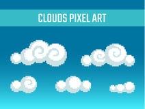 Piksel sztuki stylizować chmury Zdjęcie Royalty Free