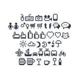 Piksel sztuki UI Ogólnospołeczne ikony ilustracja wektor