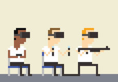 Piksel sztuki wizerunek Gamers Jest ubranym VR słuchawki royalty ilustracja