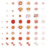 Piksel sztuki wybuchy Gemowe ikony ustawiać Komiczni huku płomienia skutki dla emoci Kawałka wektor Uderzenie wybuch wybucha błys ilustracja wektor
