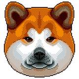 Piksla Akita inu psa portreta odosobniony wektor royalty ilustracja