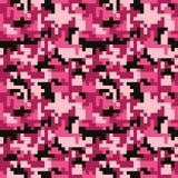 Piksla camo bezszwowy wzór Moda różowy modny kamuflaż dla gemowego przemysłu Obraz Stock