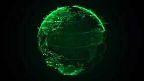 Piksla 3D planety ziemia z dużą dane animacją Płodozmienna kula ziemska, olśniewający kontynenty z unosić się liczby Abstrakcjoni royalty ilustracja