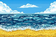 Piksla tło z plażą, morzem, niebem i chmurami, Zdjęcia Royalty Free