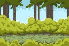 Piksla tło z lasem i krzakami Zdjęcie Royalty Free