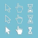 Piksli kursory i kontur ikony: myszy ręki strzała hourglass Obraz Stock