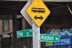 PikSt & alaskabo Wy på Seattle strand, Seattle, Washington arkivbilder
