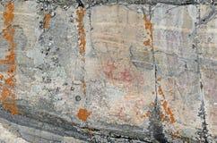 Piktograf na pustkowie skały twarzy Fotografia Royalty Free