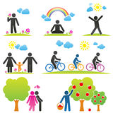 PIKTOGRAM. Pictograms representing people spending time in nature in different ways royalty free illustration