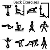 Piktogram ustawiający gym ćwiczenia Pompa z powrotem ilustracja wektor