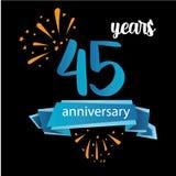 45 piktograma rocznicowa ikona, rok urodzinowej logo etykietki r?wnie? zwr?ci? corel ilustracji wektora Odizolowywaj?cy na czarny royalty ilustracja