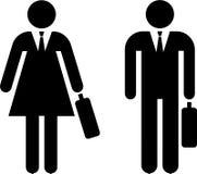 Piktogramm des Geschäftsmannes und der Geschäftsfrau Stockbilder