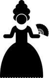 Piktogramm einer Frau im Zeitraumkostüm Stockfoto