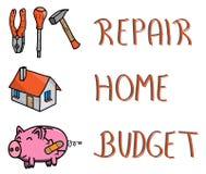 Piktogramm und Wörter, reparieren Ihr Hauptbudget, piggybank, Handwerkzeuge, Haus Lizenzfreies Stockfoto