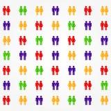Piktogramm von verschiedenen Paaren Lizenzfreie Stockbilder