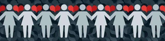 Piktogramme des Frauenhändchenhaltens auf einem Hintergrund des abstrakten Musters und der Herzen Lizenzfreie Stockbilder