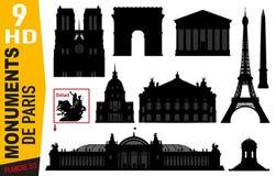 Piktogramme des Kennzeichens 2 von Pariser Monumenten mit dem Eiffelturm, der Oper oder Notre Dame vektor abbildung