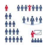 Piktogramme eingestellt. Team, Darstellung, Geschäftsbaum  Lizenzfreie Stockfotografie