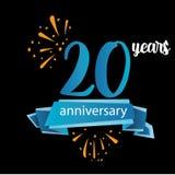 Piktogrammikone mit 20 Jahrestagen, Jahre Geburtstagslogo-Aufkleber Auch im corel abgehobenen Betrag Lokalisiert auf schwarzem Hi vektor abbildung