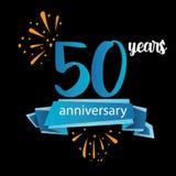 Piktogrammikone mit 50 Jahrestagen, Jahre Geburtstagslogo-Aufkleber Auch im corel abgehobenen Betrag Lokalisiert auf schwarzem Hi lizenzfreie abbildung