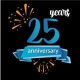 Piktogrammikone mit 25 Jahrestagen, Jahre Geburtstagslogo-Aufkleber Auch im corel abgehobenen Betrag Lokalisiert auf schwarzem Hi lizenzfreie abbildung