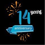 Piktogrammikone mit 14 Jahrestagen, Jahre Geburtstagslogo-Aufkleber Auch im corel abgehobenen Betrag Lokalisiert auf schwarzem Hi stock abbildung