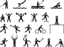 Piktogrammleute, die Sporttätigkeiten tun Stockfotografie
