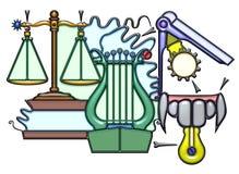 Piktographische Zusammensetzung des balancierenden Nomens Lizenzfreies Stockfoto