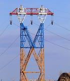 Pilão da eletricidade, linha elétrica Imagens de Stock Royalty Free