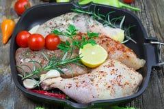 Pilão de galinha cru e peito de frango cru na bandeja - carne crua da galinha Fotografia de Stock