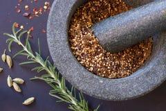 Pilão e almofariz com ervas e especiarias Fotografia de Stock Royalty Free
