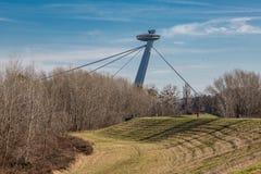 Pilão novo da ponte em Bratislava, Eslováquia fotos de stock