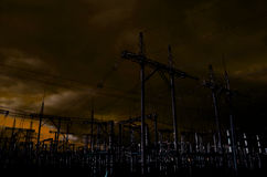 Pilón de la línea de electricidad Fotografía de archivo libre de regalías