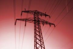 Pilón de la línea eléctrica Fotografía de archivo