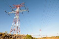 Pilón del poder de la electricidad Imágenes de archivo libres de regalías