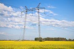 Pilões e linhas da eletricidade. Fotos de Stock Royalty Free