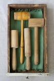 Pilões e malhos de madeira Fotografia de Stock Royalty Free