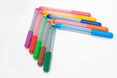 Pil av fel-spets pennor Arkivfoton
