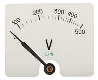 Pil av voltmetern som indikerar 0 volt som isoleras på vitbaksida Arkivfoto