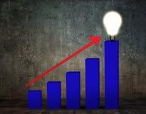 Pil för affärsgraf och ljus kula Fotografering för Bildbyråer