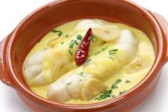 Pil för Bacalao alpil, spansk kokkonst, basque land Royaltyfri Bild