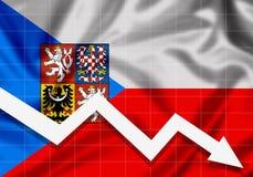 Pil för EU-Tjeckienflagga ner, begreppet av fel Arkivbilder
