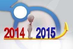 pil för man 3d 2014 till illustration 2015 Royaltyfria Bilder