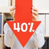 Pil med den 40% rabatten Fotografering för Bildbyråer
