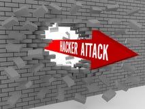 Pil med orden hackerattack som bryter tegelstenväggen. stock illustrationer