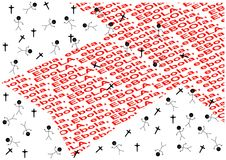 Pil med röd ordebola, korset och folket Arkivfoto