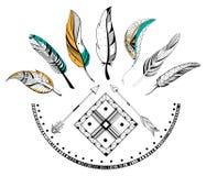 Pil och fjäder för stam- bohostil vektor illustrationer
