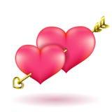 Pil och hjärtor för dag för valentin` s guld- Illustration för vektorgemkonst Arkivfoton